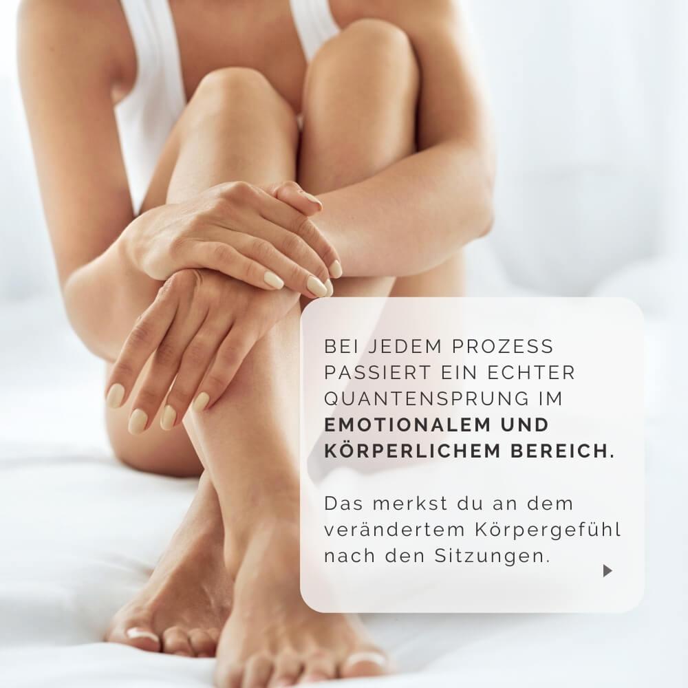 Bei jedem Prozess passiert ein Quantensprung im emotionalem und mentalen Bereich. Das erkennst du an dem verändertem Körpergefühl nach einer Sitzung.