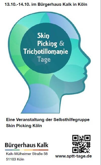 Flyer der Skin picking und Trichotillomanie Tage Köln 2018.