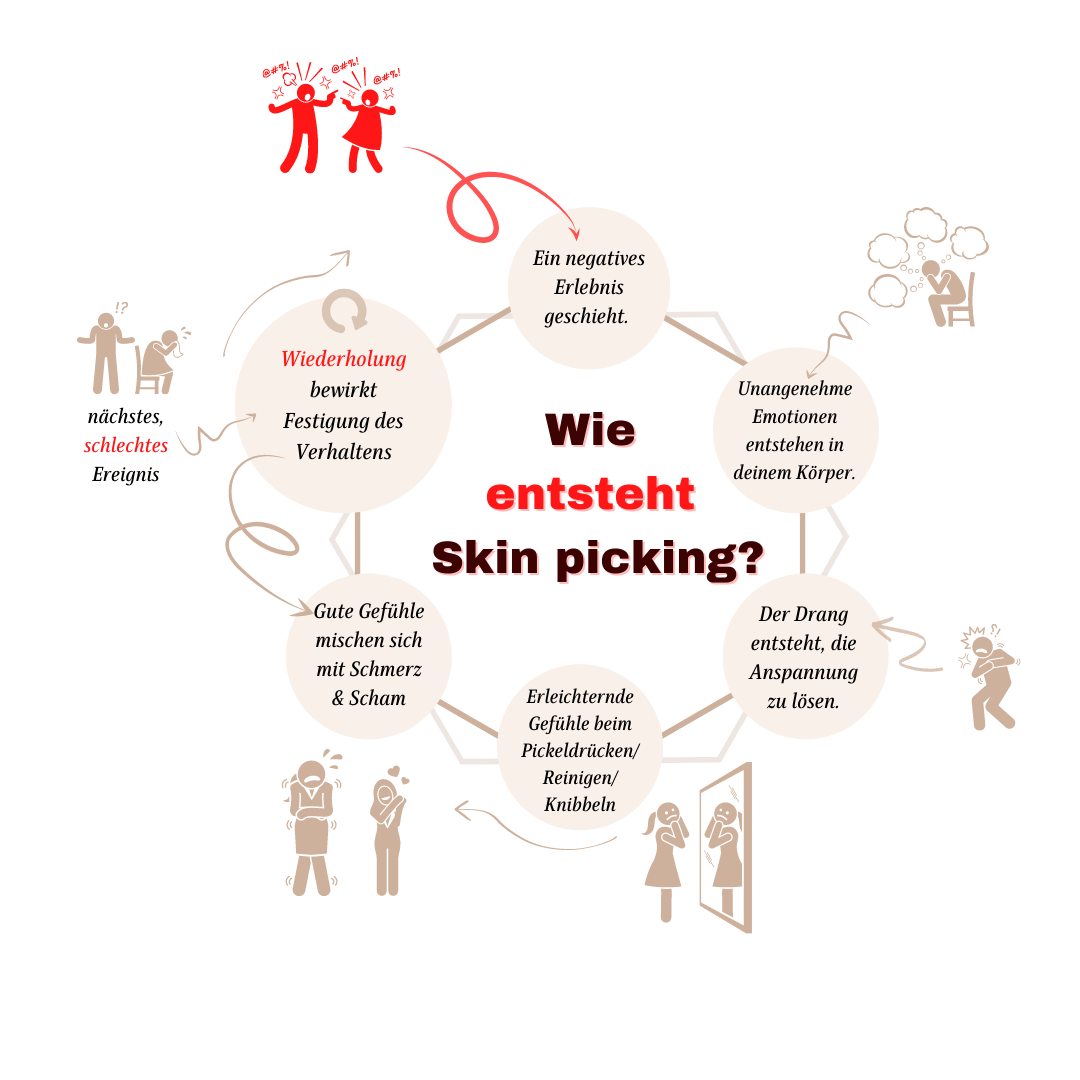 Wie entsteht Skin picking - Ursachen für Skin picking als Grafik