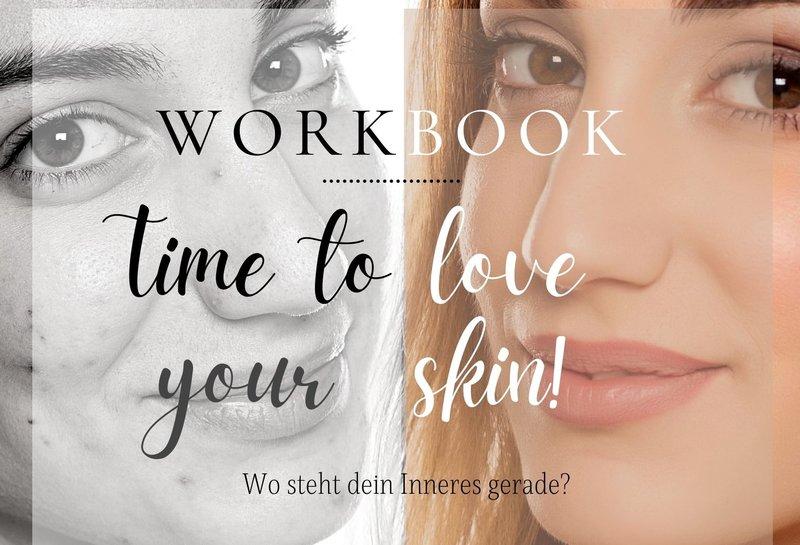 Wirkbook Skin picking Deckblatt mit 2 Gesichtern drauf - eins mit, eins ohne Skin picking